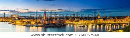 Panoráma Stockholm hajó város égbolt épületek Stock fotó © 5xinc