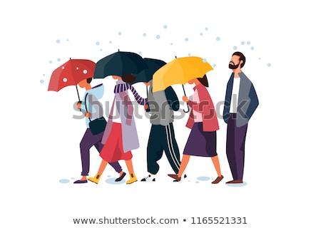 Cartoon человека зонтик иллюстрация печально Сток-фото © bennerdesign