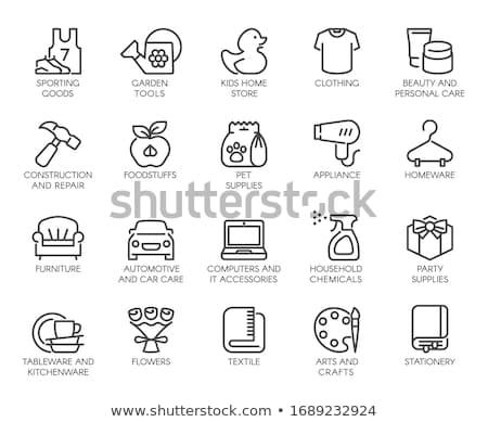 домашнее хозяйство химикалии рынке отдел икона цвета Сток-фото © angelp