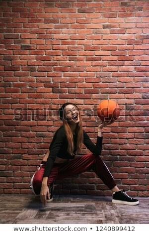 Tam uzunlukta fotoğraf esmer kız oturma Stok fotoğraf © deandrobot