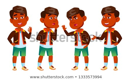 indian boy kindergarten kid poses set vector playful positive small baby for presentation print stock photo © pikepicture