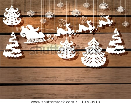 Christmas Paper Cut Santa Claus and Deers Vector Stock photo © robuart
