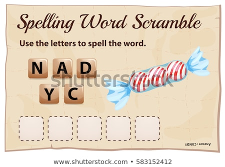 Spelling word scramble game template with word candy Stock photo © colematt