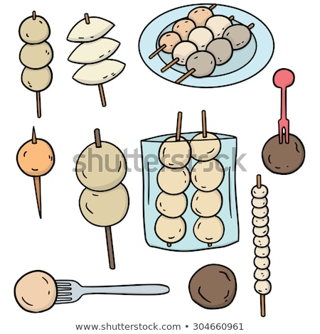 vector set of meatball, fish ball, pork ball and shrimp ball stock photo © olllikeballoon