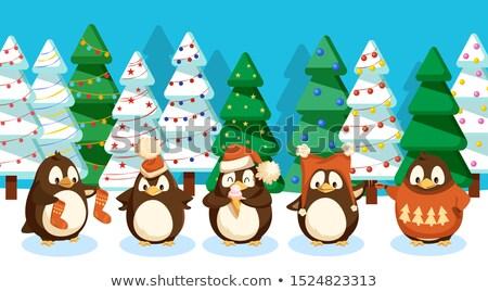 grappig · winter · vogels · genieten · sneeuw · natuur - stockfoto © robuart
