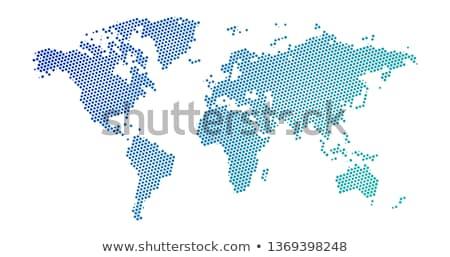 Stockfoto: Zwarte · halftoon · stippel · Blauw · helling · wereldkaart