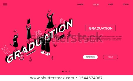 graduation concept   line design style isometric web banner stock photo © decorwithme