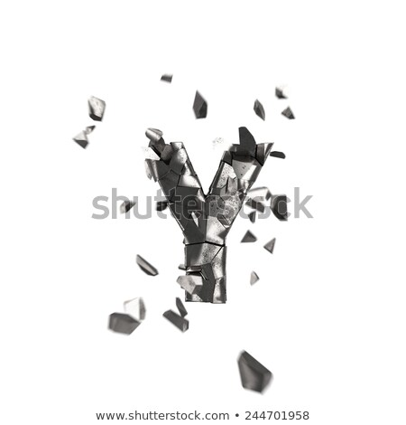 rusty metal font letter y 3d stock photo © djmilic