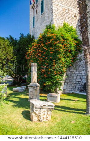 Town of Sibenik historic architecture and iron cannon view Stock photo © xbrchx
