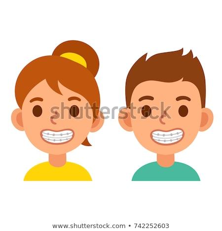 funny white boy with dental braces cartoon Stock photo © zkruger