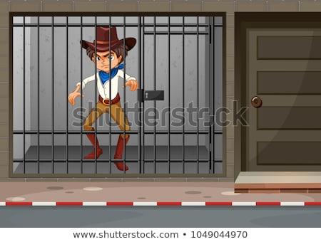 Cowboy заблокированный тюрьму иллюстрация человека улице Сток-фото © colematt