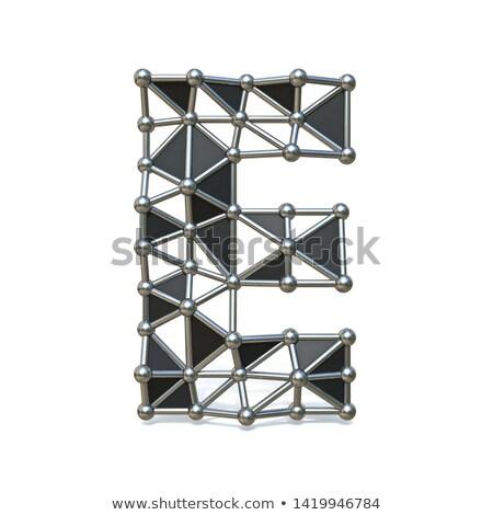 Drót alacsony fekete fém betűtípus e betű Stock fotó © djmilic