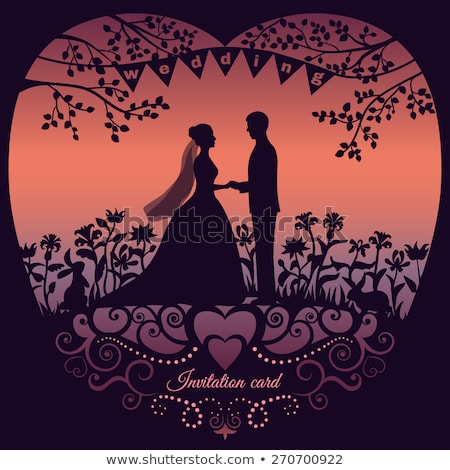 Romantik tatil kartpostal damat gelin vektör Stok fotoğraf © robuart