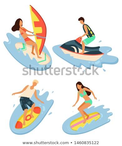 Nyár idő nő windszörf vízpart üdülőhely Stock fotó © robuart