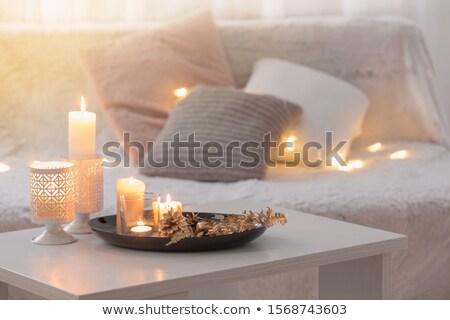 rezando · vela · negro · culto · silueta - foto stock © robuart
