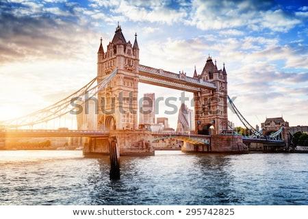 Tower Bridge siluet turuncu su ufuk çizgisi kule Stok fotoğraf © mayboro