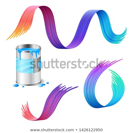 Open metal can of blue paint with rainbow paint strokes set Stock photo © MarySan