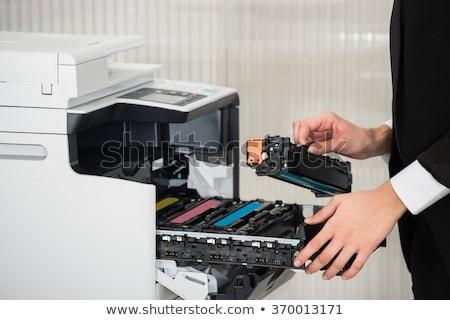 Empresário cartucho impressora local de trabalho escritório Foto stock © AndreyPopov