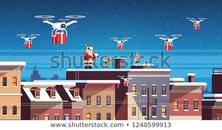 Levering geschenk schoorsteen illustratie glimlach Stockfoto © colematt