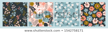 set of floral pattern spring flowers stock photo © lemony