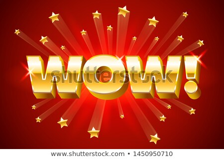 Gold wow inscription on red background or banner with stars, emotion expression, vector illustration Stock photo © MarySan