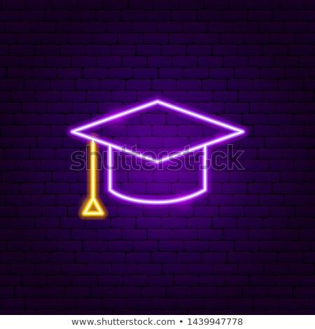 окончания Cap неоновых Label образование поощрения Сток-фото © Anna_leni