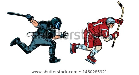 hockey player. riot police with a baton Stock photo © studiostoks