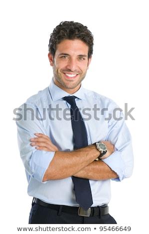 бизнесмен · улыбаясь · оружия · молодые - Сток-фото © nyul