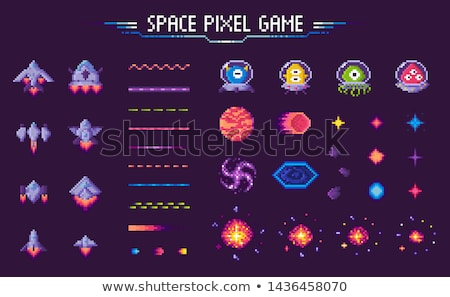 Space Pixel Game Spaceships and Planets Set Stock photo © robuart