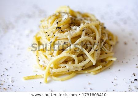 Portion of black Cacio e pepe pasta Stock photo © Alex9500