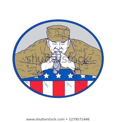 Amerikan asker dua eden çizim renk kroki Stok fotoğraf © patrimonio