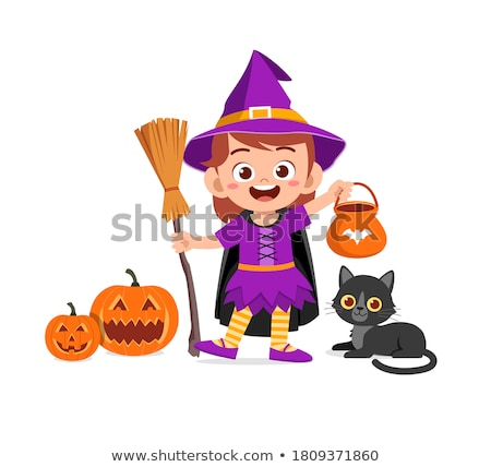 Cute cat wearing dracula costume with pumpkins Stock photo © amaomam
