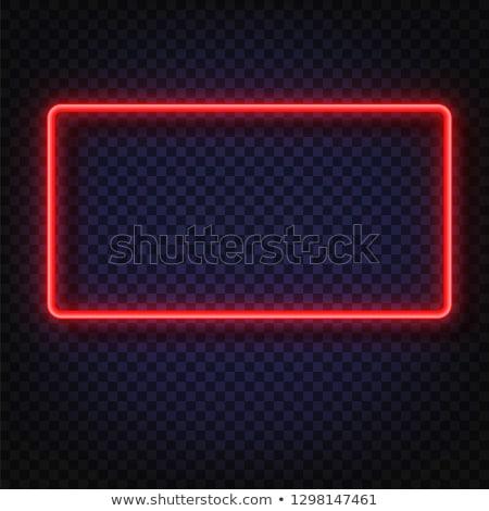 Rechthoekig Rood neon frame snel gemakkelijk Stockfoto © Voysla