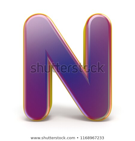 Yellow outlined font letter N 3D Stock photo © djmilic