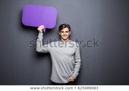 Reflective man showing blank signboard. Stock photo © lichtmeister