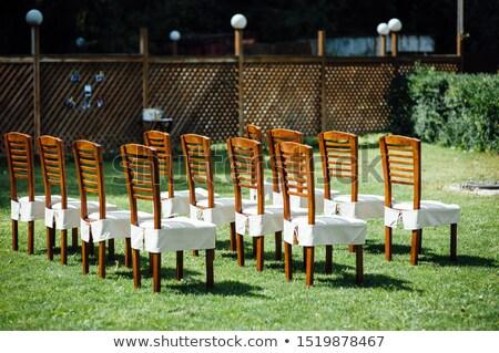 Stoelen witte huwelijksceremonie evenement buiten Stockfoto © ruslanshramko