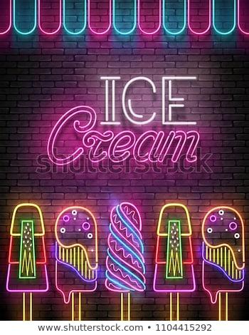 Vintage brilho cartaz sorvete Foto stock © lissantee