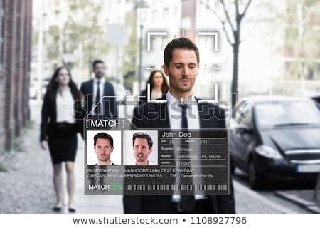 Fiatalember arc elismerés férfi biztonság kék Stock fotó © ra2studio