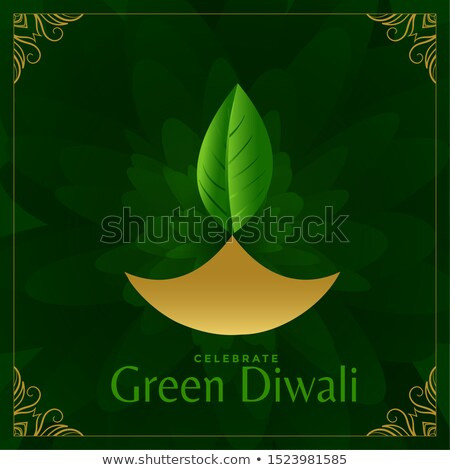 Stock photo: Happy Green Diwali Festival Card Design With Leaf