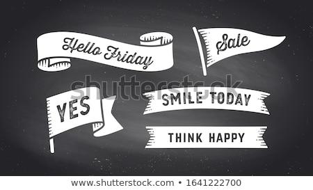 şerit afiş ayarlamak beyaz metin ifade Stok fotoğraf © FoxysGraphic