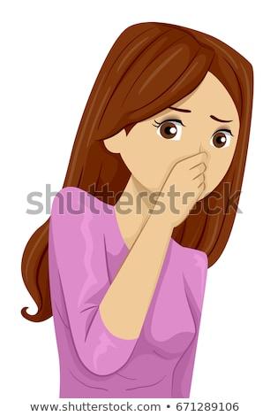 Mujer nariz mal olor dentro coche Foto stock © AndreyPopov