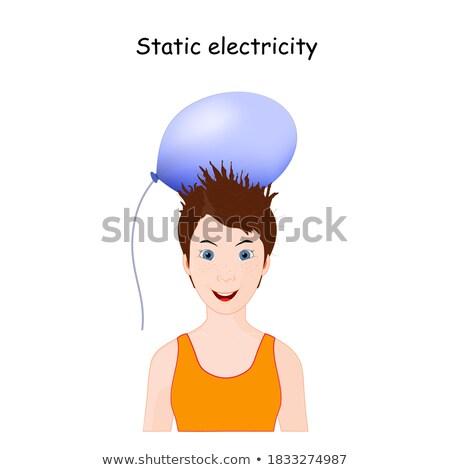 счастливая девушка электростатический шаре иллюстрация счастливым дети Сток-фото © bluering