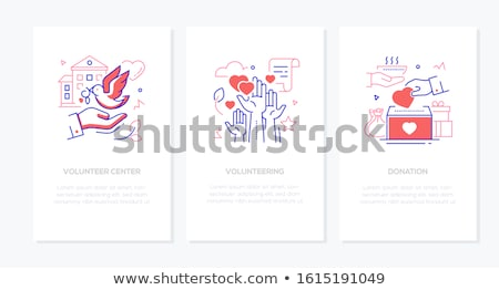 Volunteering concept - line design style banners set Stock photo © Decorwithme