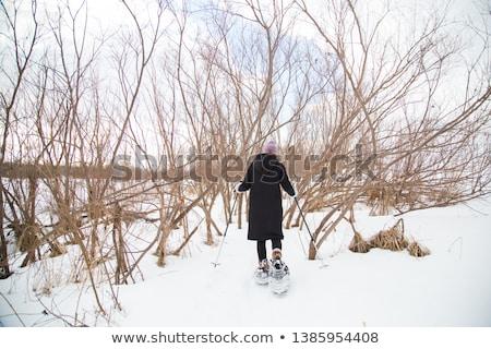 Piękna kobieta Błękitne niebo Quebec zimą kobieta niebo Zdjęcia stock © Lopolo