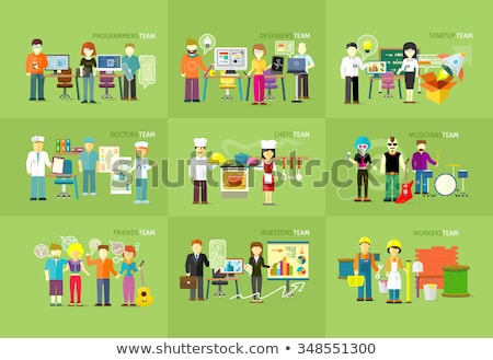 Chef team working. Man and woman. Vector illustration Stock photo © Imaagio