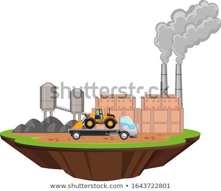 Scene with factory buildings and bulldozer on the site Stock photo © bluering