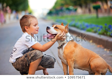 A dog is the best friend for a child . Animal with human outdoors Stock photo © ElenaBatkova