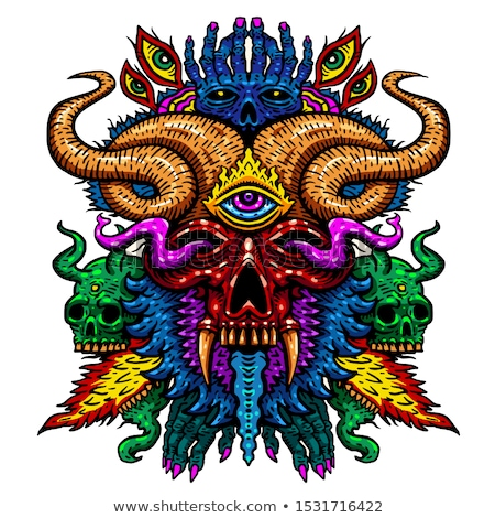 Psychedelic Skull Isolated Vector Illustration Stock photo © jeff_hobrath
