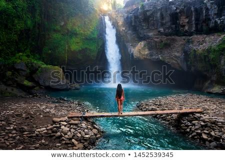 Liebe Wasserfall Frau Mädchen glücklich Stock foto © Lopolo