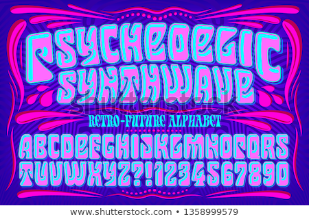 Psychedelic font with colorful pattern. Vintage hippie alphabet. Stock photo © evgeny89